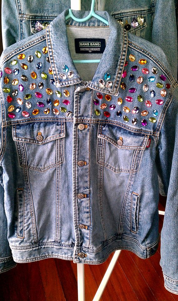 Reworked Rhinestone Vintage Denim Jacket by KodChaPhorn from Bangkok on Etsy