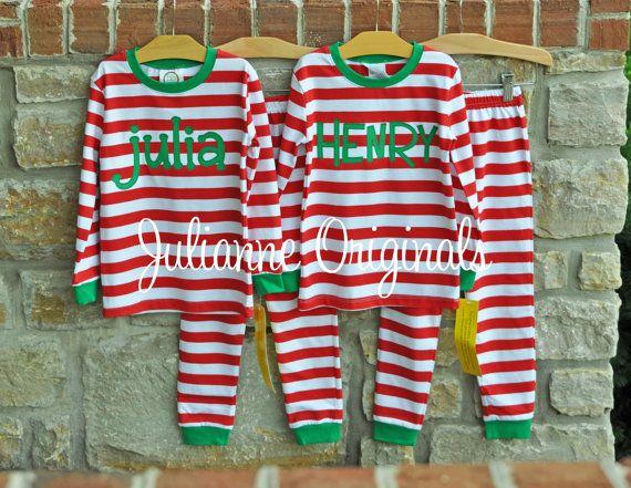 Red Stripe Christmas Pajamas  Christmas by julianneoriginals