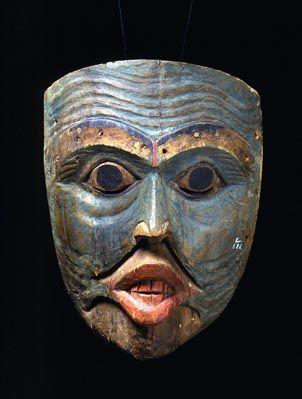 Tlingit Shaman's Mask - Old Man  1820-60  Fenimore Art Museum