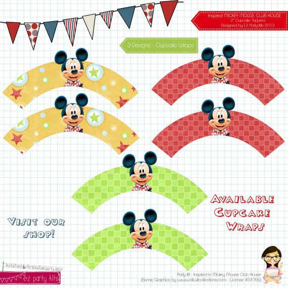 Mickey Mouse Birthday - Cupcake Wraps - Mickey Party - Mickey Mouse Clubhouse Inspired Design - By Ez Party Kits on Etsy, $4.00