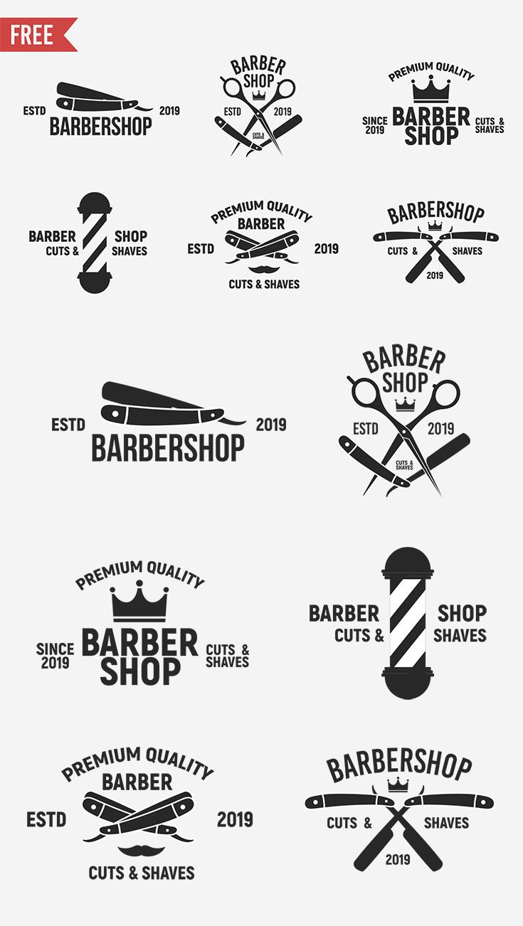 Free Vintage Barbershop Logo Templates Is A Creative Set Of 6 Logo Templates By Denys It Comes In Eps File Format With Barber Logo Barber Shop Logo Templates
