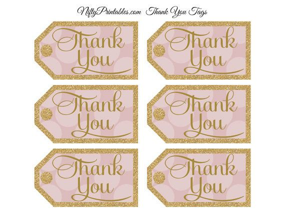 Pink Gold Thank You Tags - Printable Gold Glitter Pink ...