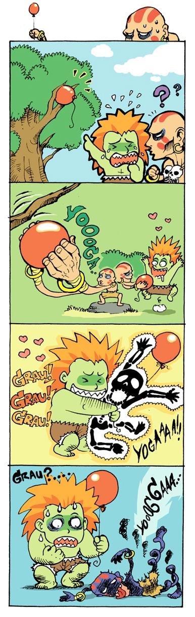 Grau !, Grau !, Grau !  Dhalsim helping Blanka. Street Fighter friends! Shocking hugs.