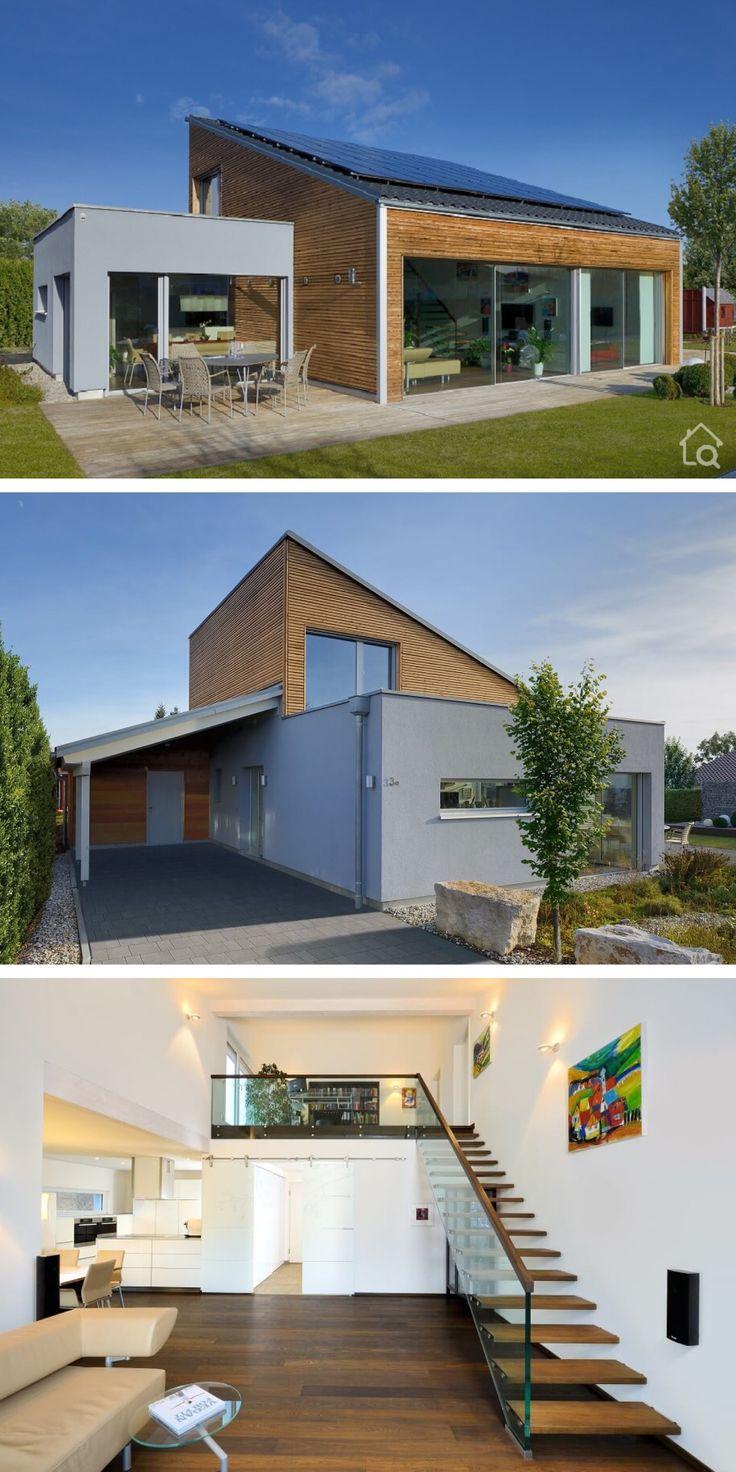Bungalow modern mit Holz Putz Fassade & Pultdach bauen