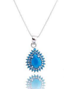 colar prata com zirconia turquesa e banho de rodio semi joias sofisticadas online