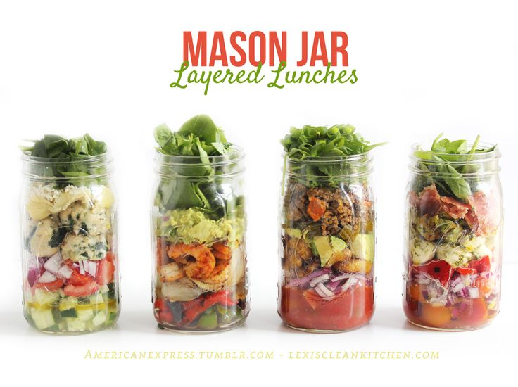 Layered Mason Jar Lunches by Lexi's Clean Kitchen. #paleo