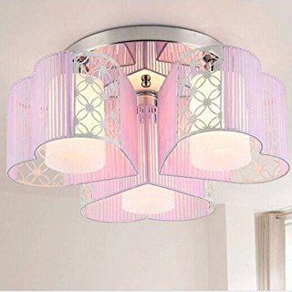 Lightinthebox Modern Art Deco Fabric Chandelier Pink Pendant Flush Mount Ceiling Fixtures Light 3 Lamps For