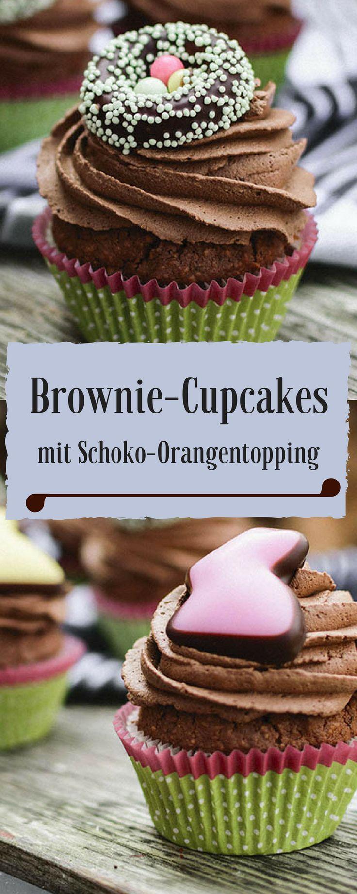 Brownie-Cupcake Rezept, super saftig und schokoladig. Das Topping ist mit Orangenlikör und Orangenabrieb. LECKER!