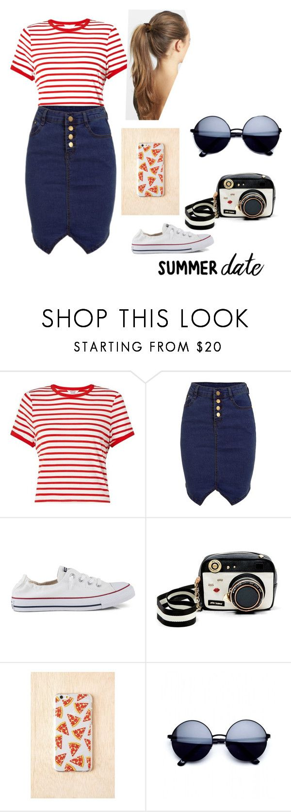 """Apostolic Pentecostal State fair outfit"" by ecord1 ❤ liked on Polyvore featuring Miss Selfridge, Converse, Betsey Johnson, Skinnydip, France Luxe, statefair, summerdate and apostolicpentecostal"