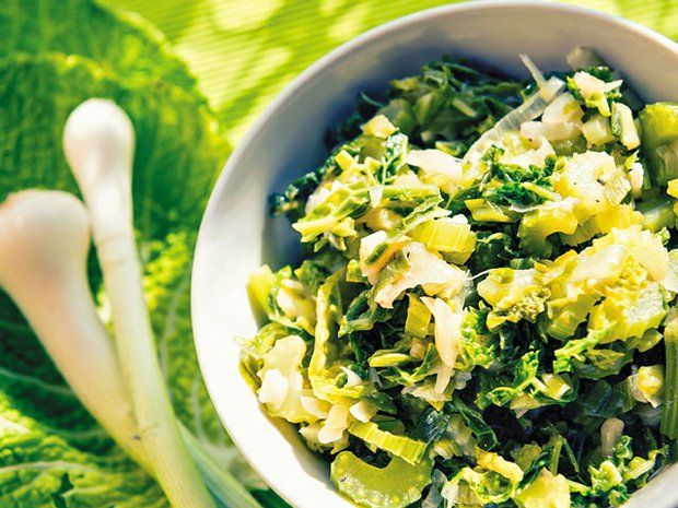 Kale medley-Olive oil, garlic and onions turn one of nature's most nutritious greens into a tasty side dish.