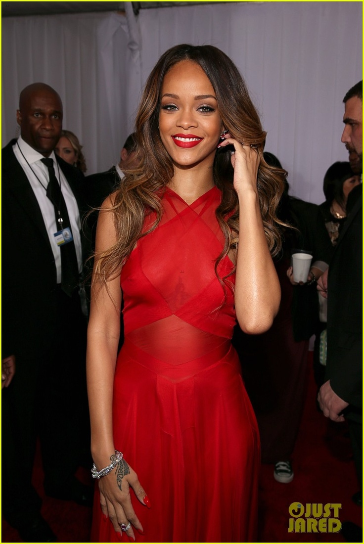 Rihanna @ 2013 Grammys in custom Azzedine Alaia dress, Neil Lane jewelry, and Manolo Blahnik shoes.