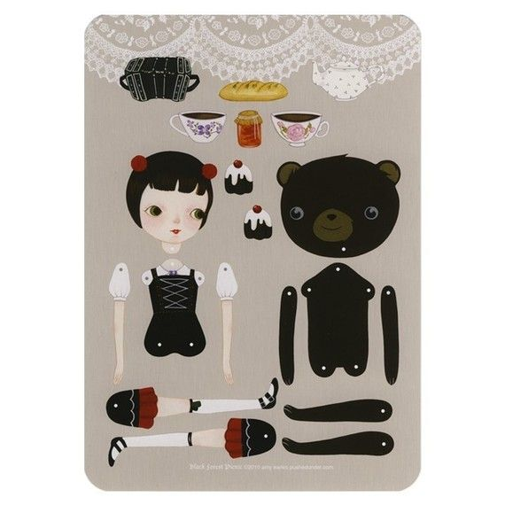 Black Forest Picnic paper doll set with 10 silver di woolandwater