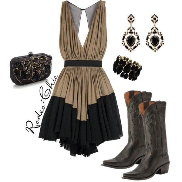 """A Formal Affair"" by rodeo-chic on Polyvore Dress with cowboy boots by Lucchese @lucchese1883 , western"