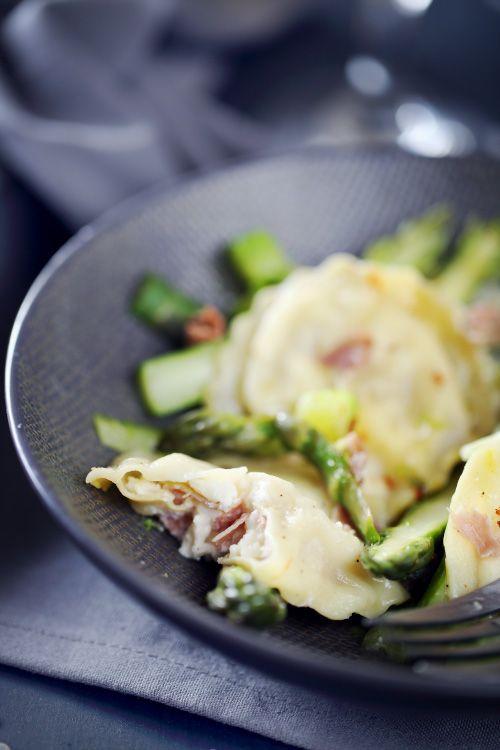 Raviolis à la burrata et au jambon cru