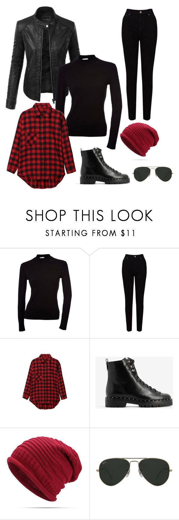 """Grunge outfit"" by eda-kunics on Polyvore featuring LE3NO, EAST, Valentino and Ray-Ban"