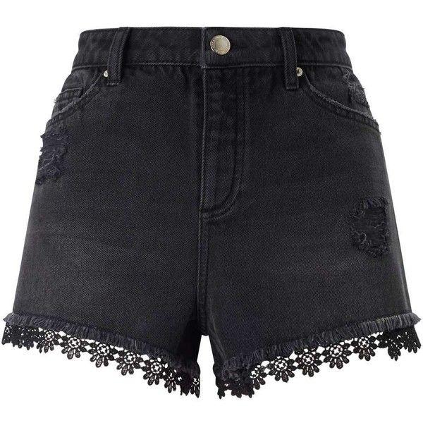 Miss Selfridge Black Crochet MOM Shorts ($60) ❤ liked on Polyvore featuring shorts, black, crochet shorts, macrame shorts, miss selfridge, cotton shorts and crochet beach shorts