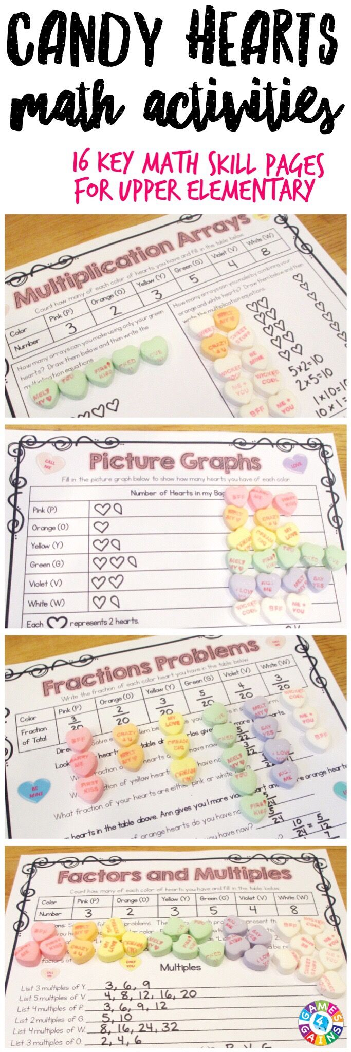 """""""This is the PERFECT activity for Valentine's Day! I love having holiday activities for upper grade kids that are meaningful review!"""" This Valentine's Day Math Conversation Hearts Project contains 16 pages of printable math activities to use with some yummy conversation hearts! These work perfectly for small groups, centers, informal assessments, review, etc. Ideal for grades 4-6."""