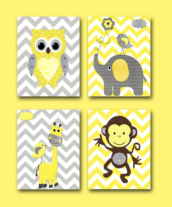 Monkey Kids wall art Owl Nursery Giraffe Nursery Elephant Nursery Baby Girl Nursery Baby Room Decor Nursery Print set of 4 11x14 yellow gray...