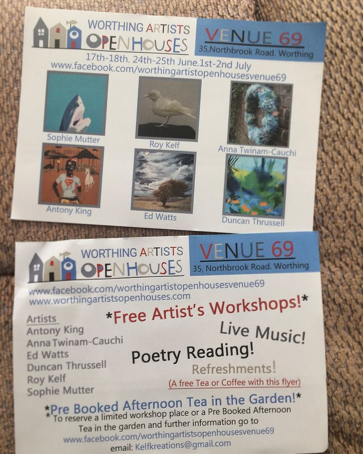 Venue 69, Worthing Artists Open Houses. X3 weekends starting 17th June. Private view 17th June, in the evening.  Facilitating FREE landscape painting workshop 1st July.