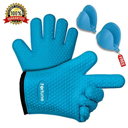 Silicone Grilling Gloves - Best Heat Resistant Oven Mitts For Cooking, Baking, BBQ & Boiling - Safely Holds Hot Pots and Pans - Non-Slip Potholders with Internal Cotton Layer - Includes Mini Oven Mitt ★ THE BETTER GLOVES - What is quality? For us at Fortune by TM, merit comes from hard wearing, BPA Free Silicone and premium craftsmanship. This is what makes our high-caliber grilling gloves. Our quality paired with outstanding customer service is what makes us the ONLY choic