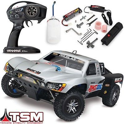 ﹩419.95. Traxxas Slayer Pro 4x4 Nitro RTR Short Course RC Truck w/TSM - #7 AMSOIL BODY    Type - Trucks, Scale - 1:10, Fuel Type - Nitro  Glow Fuel, Required Assembly - Ready to Go/RTR/RTF (All included), Color - Silver, 4WD/2WD - 4WD, - Ready-to-Go