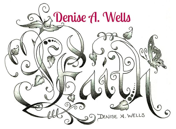 Faith Tattoo Denise A. Wells made with flower, leaves, swirls, butterfly and Christian Fish symbol...