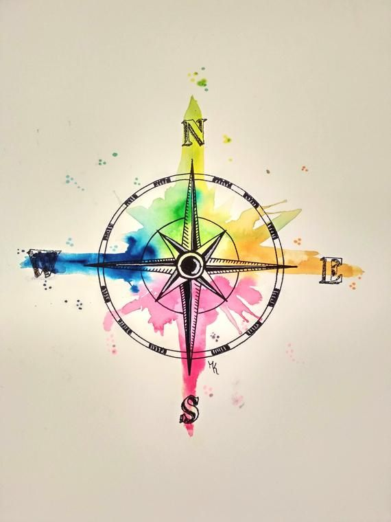 Compass North East South West Art Print, Wanderlust, Poster, Watercolor, Painting, … – Art by Stilwald