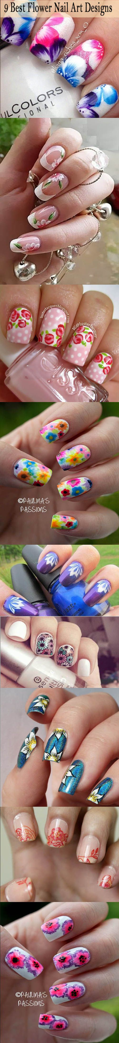 9 Best Flower Nail Art Designs Discover and share your nail design ideas on https://www.popmiss.com/nail-designs/