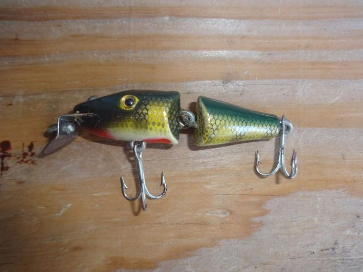OLD DOUBLE JOINTED PIKIE WOODEN VINTAGE Fishing Lure #Pikie