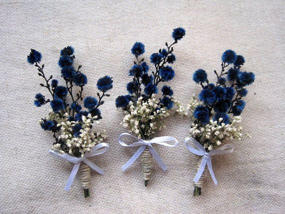 Winter navy blue white boutonniere set 6 by FlowerDecoupage