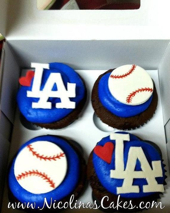 Los Angeles Dodgers Baseball Cupcake Toppers by NicolinasCakes, $16.95