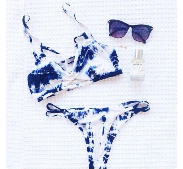 Blue White Tye Dye Bikini