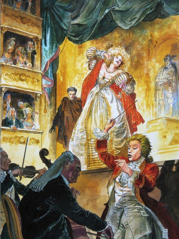 "Milo (Maurilio) Manara (Italian, born 1945) Illustrazione per il libro ""Pentiti"" su Mozart (Иллюстрация к книге ""Покайся!"" о Моцарте). 2005 г."
