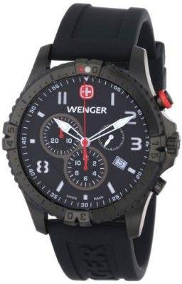 Relógio Wenger Men's 77053 Squadron Chrono Black Ion-Plating Rubber Strap Watch #Relógio #Wenger