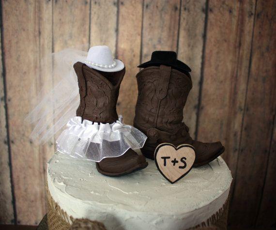 Country western wedding cake topper-cowgirl boots-cowboy boots-wedding cake topper-western wedding-western birde-hunting-rustic wedding on Etsy, $42.00