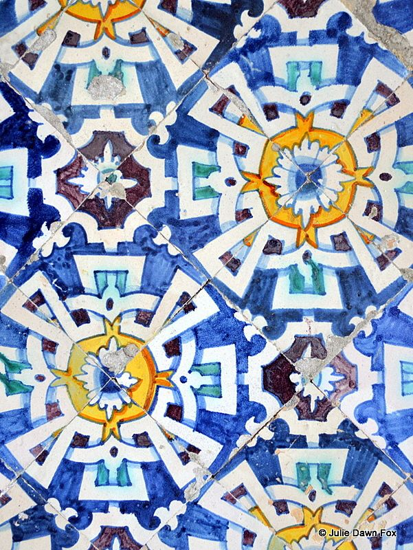 Colourful azulejos, Palacio da Bacalhôa, Azeitão by Julie Dawn Fox