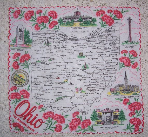 New Mexico State Map Handkerchief Hankie Franshaw