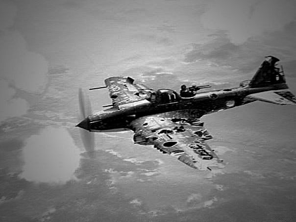 Battle in the air WW2. Damaged under fire the Soviet Ilyushin IL-2 m continues to fly.