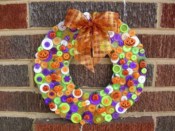 A Halloween button wreath