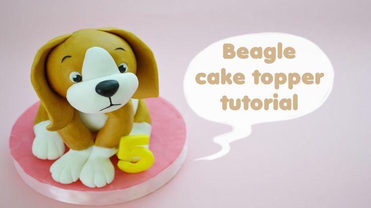 HOW TO  BEAGLE DOG CAKE TOPPER FONDANT - TUTORIAL CANE BEAGLE TORTA DECO...
