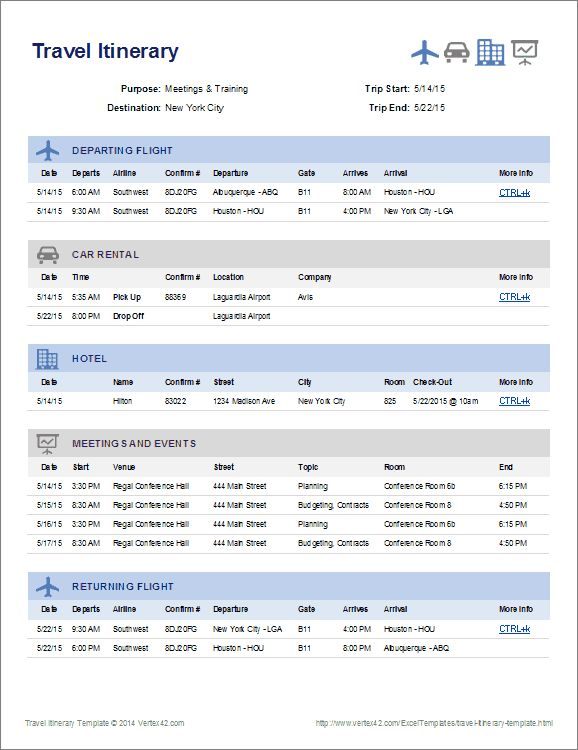 Create a one-page summary of your travel plans using this itinerary template, from http://www.vertex42.com/ExcelTemplates/travel-itinerary-template.html