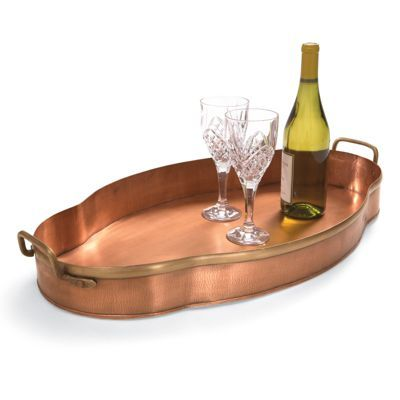 Scallop Copper Tray: Grandin Road.  Copper goes with agua and teal so nicely! Grandin Road Color Crush on Laguna