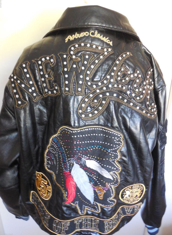 Mens Avirex Leather Jacket XL New York Faux Fur Removable