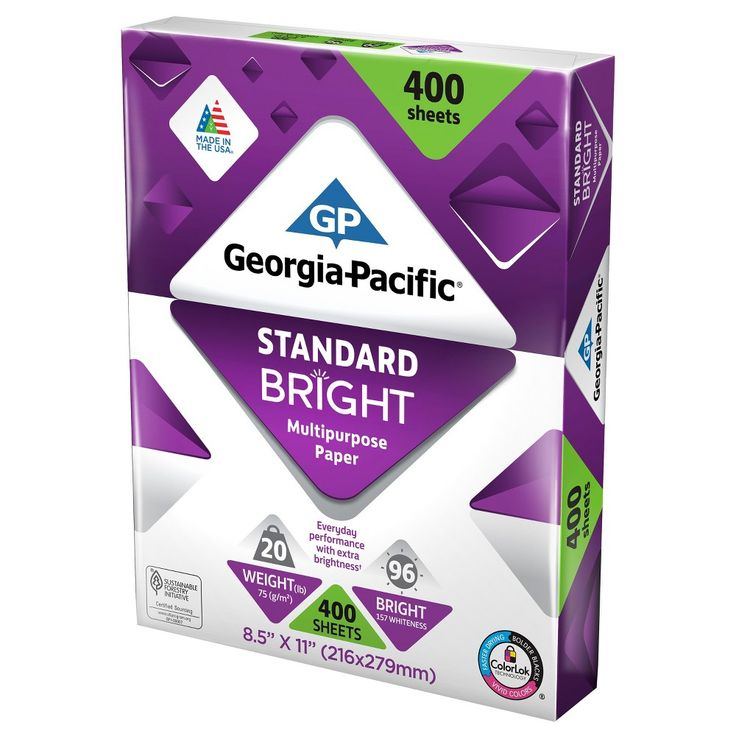 Georgia Pacific Printer Paper Letter Size 20lb Standard Bright 400ct, White