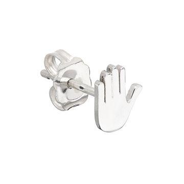 Raised Hand Emoji Stud Earring in sterling silver.