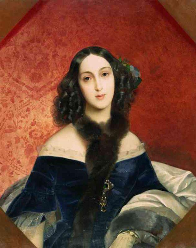 Karl Brulloff (Briullov) (1799 - 1852). Portrait of Maria Beck.   Russian Artists