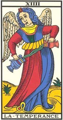 Interprétation de la carte de la Tempérance du Tarot de Marseille - Apprendre le Tarot de Marseille, le Tarot Divinatoire