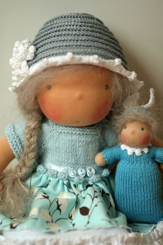 A Waldorf doll (also called Steiner doll) is a form of doll used in Waldorf education. Made of wool and cotton, using techniques drawing on traditional European dollmaking, its appearance is intentionally simple in order to allow the child playing with it to improve or strengthen imagination and creativity. For instance, it has no facial expression. Its legs and arms are flexible, allowing natural postures. Traditional Waldorf dolls are made from cotton interlock knit fabric...
