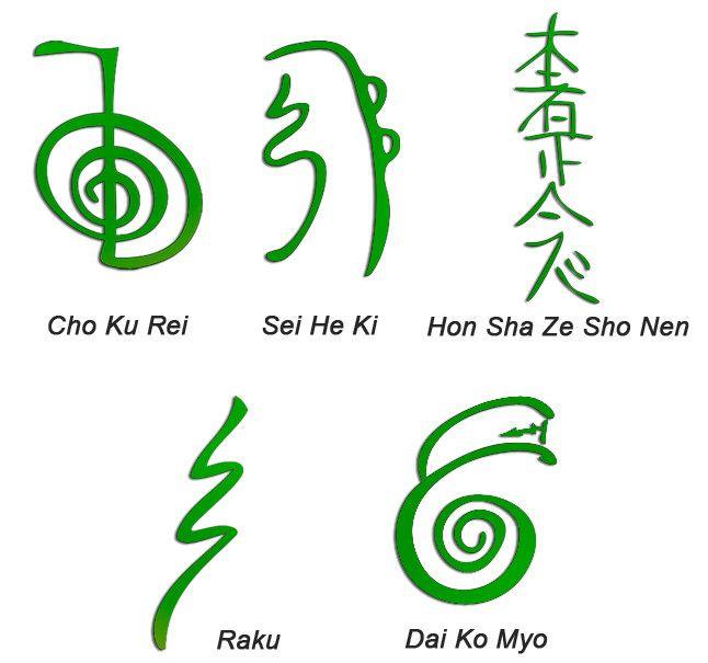 Los símbolos Reiki son considerados símbolos sagrados y se originan a partir de los tiempos antiguos en el Japón, el Tíbet y la India. Existían antes del uso del Dr. Usui y por lo tanto no son exclusivos de Reiki. Por ejemplo, los dos primeros símbolos de Reiki se cree que son originarios del sánscrito.