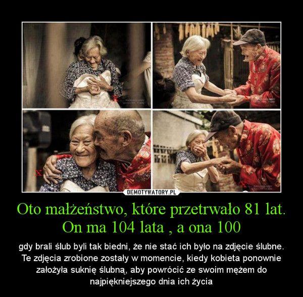 Oto małżeństwo, które przetrwało 81 lat. On ma 104 lata , a ona 100 – gdy brali ślub byli tak biedni, że nie stać ich było na zdjęcie ślubne. Te zdjęcia zrobione zostały w momencie, kiedy kobieta ponownie założyła suknię ślubną, aby powrócić ze swoim mężem do najpiękniejszego dnia ich życia